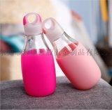 源康新款硅膠玻璃瓶創意便攜耐隔熱硅膠水瓶