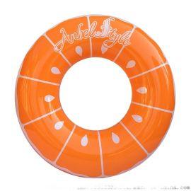 热销充气PVC橙子游泳圈高档加厚泳圈