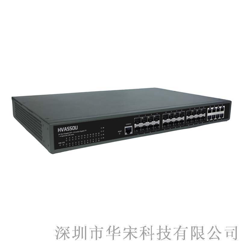 千兆16光8电光纤环网交换机24光三层核心交换机