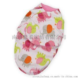 紫柔双层短毛绒襁褓 宝宝睡袋儿童睡袋 保暖加厚婴幼儿抱被 外出抱毯
