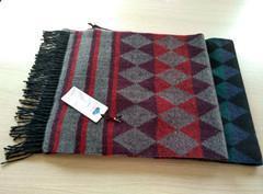 秋冬粗紡羊毛提花圍巾