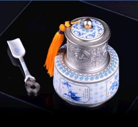 和瓷陶瓷青花瓷叠彩合金普洱红茶茶叶罐茶铲典雅**办公家居礼品