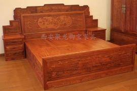 西安仿古家具│仿古大床│实木大床│红木大床│实木家具供应