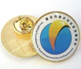 广州制作金色胸针/金属徽章批发/镀金胸章订购