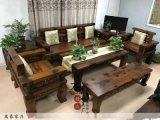 老船木萬字沙發組合全實木沙發客廳新中式禪意家具古典