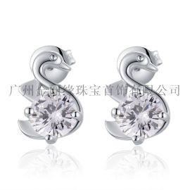 S925纯银锆石耳钉 新款耳饰 个性时尚小天鹅耳环
