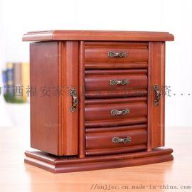顶层妆镜首饰盒 梧州古典实木家具 钦州礼饰庭妆盒