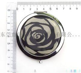 厂家定制圆形电镀小镜子 水晶玻璃翻盖镜子
