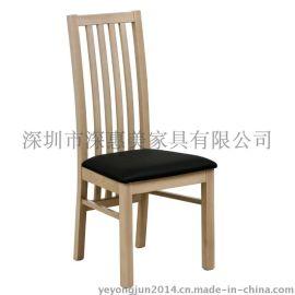 火爆新款咖啡厅实木餐椅欧式复古实木餐椅酒店西餐厅单人皮椅子简约软包靠背餐椅