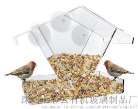七彩雲有機玻璃雙頭自動喂鳥器透明戶外餵食鳥籠寵物箱