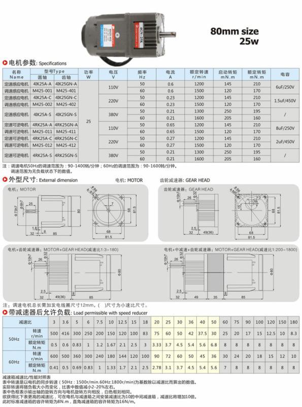 厂家直销东元齿轮减速调速电机25W数比3~180