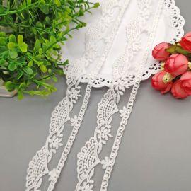 绣花皇冠花边头纱裙子装饰蕾丝花边米白棉线刺绣花边
