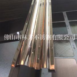 南宁KTV装饰专用玫瑰金镜面不锈钢线条 不锈钢门框包边线 天花装饰线 不锈钢异型件加工