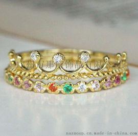 广州番禺首饰加工厂925纯银时尚潮流新款电镀18K满钻戒指可18K金结婚定制戒指
