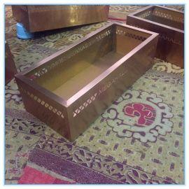 厂家定制玫瑰金方形不锈钢花盆 可印LOGO设计装饰园林房地产摆件