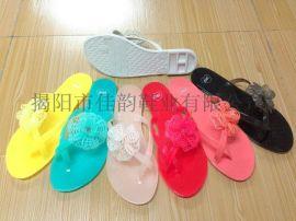 揭阳厂家供应女款水晶花朵装饰拖鞋