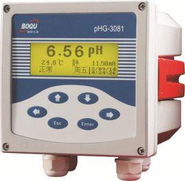 上海博取3081型工业在线pH计带温补铸铝壳体中英文操作多参数同屏显示微机型**仪表