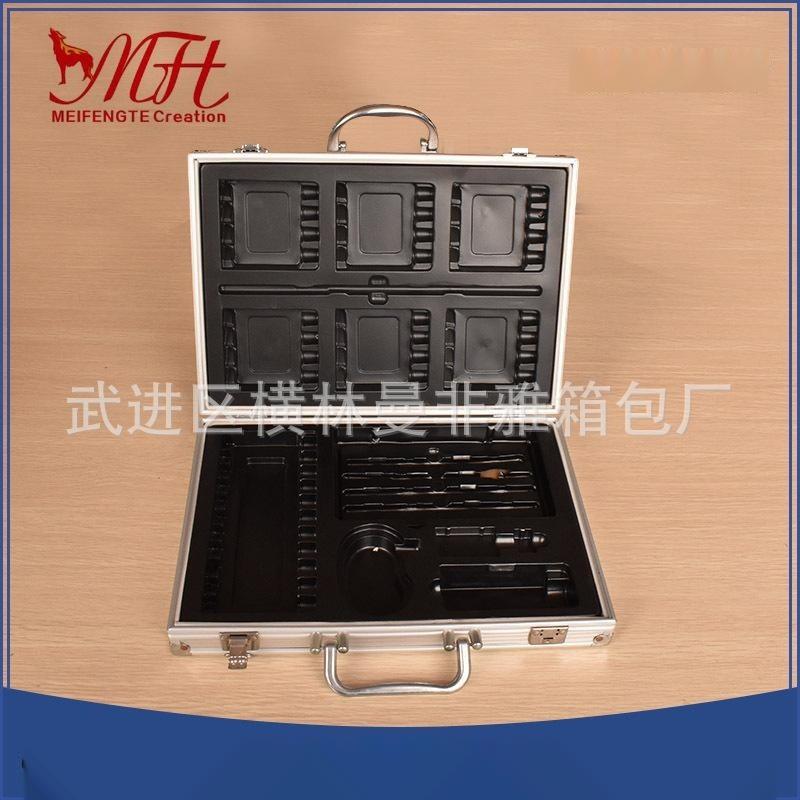 定制铝合金五金工具箱有隔板收纳可肩背  批发手提设备展示仪器仪