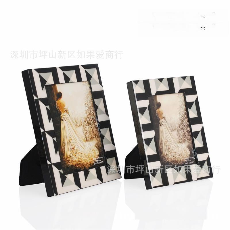 歐式現代簡約魔方紋理新古典黑色鋼琴烤漆木質相框邊框家居擺件