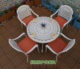 高档户外压铸铝桌椅|豪华时尚白色户外桌椅组合