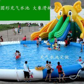 移动充气水池儿童支架游泳池设备大型水上滑梯组合