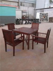 广州傲源户外实木桌椅 一桌四椅花园套椅 户外休闲庭院桌椅