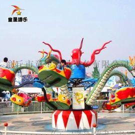 外观精美的大章鱼童星厂家规划公园游乐设备