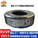 深圳市金环宇电缆RVVP铜屏蔽 8*0.5平方 屏蔽防干扰信号通讯电线