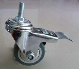 4寸中型超级人造胶镀铬万向带刹车脚轮(MSTPR4)