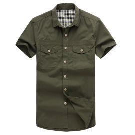 秋冬新款商务男士短袖T恤衫 男装短袖衬衫 商务纯色衬衫 职业装