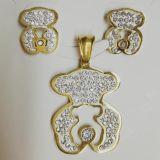 kld 不锈钢饰品韩版镀金镶钻可爱小熊饰品套装 耳环+吊坠