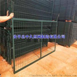 双边丝公路护栏网绿色浸塑铁丝围栏网铁路隔离围栏