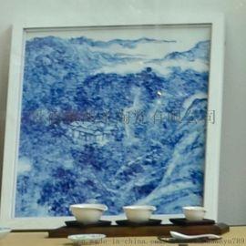 景德镇青花山水瓷板,家居软装,陈设瓷,酒店装饰