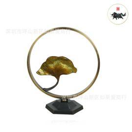 中式輕奢圓形不鏽鋼金屬絕處逢生楓葉樣板間軟裝客廳書房別墅擺件