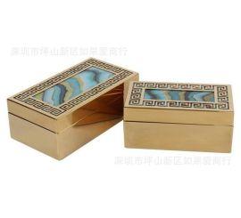 不锈钢金属金色长方形水波纹路玻璃首饰收纳盒样板间软装摆件欧式