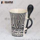 陶瓷杯生产厂家定制带勺陶瓷咖啡杯创意豹纹设计马克杯