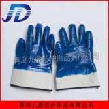 直銷安全口全浸膠藍丁腈棉毛裏布寬口批發外貿出口勞保防護手套