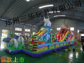 大型儿童充气滑梯PVC材料制作