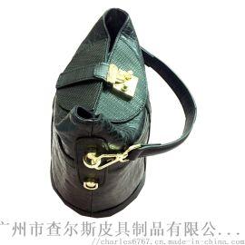 定制時尚真皮水桶包女鱷魚紋牛皮桶包拼接手提斜挎包