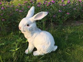 仿真卡通動物寫實兔子樹脂工藝品 園林雕塑 新年禮品