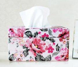 LS1020B牡丹花系列 方形皮质 抽纸盒 小号 纸巾盒 面巾纸收纳盒