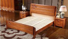 厂家直销现代中式1.8米实木床双人床高低箱储物床橡木床特价批发