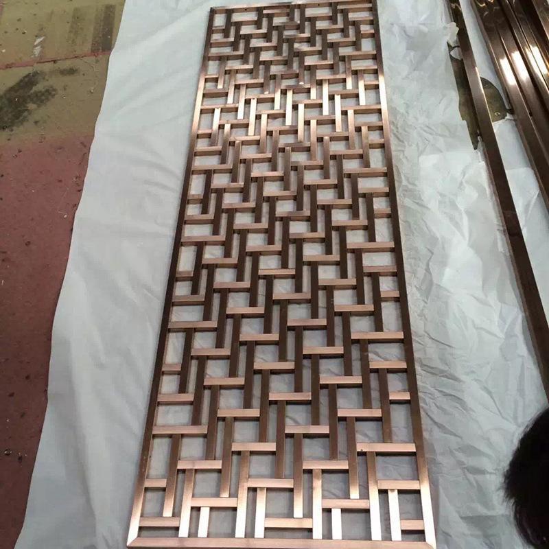 上海不锈钢屏风价格隔断加工厂家直销会所酒店屏风定制镀铜镜面