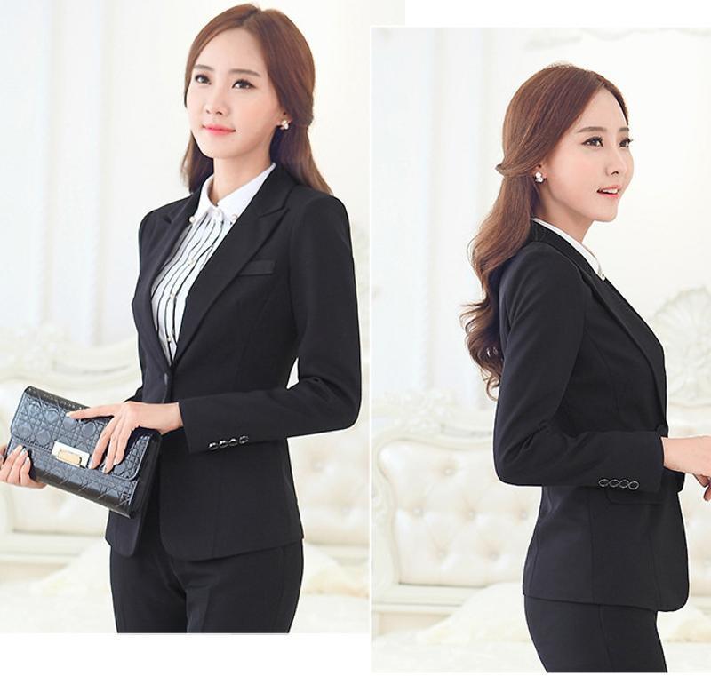 定做時尚辦公室女式職業裝西服套裝時灰色黑色套褲