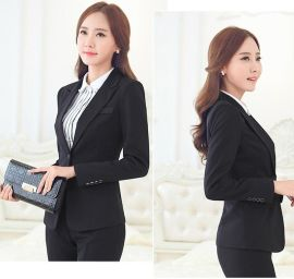 廠家批發定做時尚辦公室女式職業裝西服套裝時尚OL灰色黑色套褲