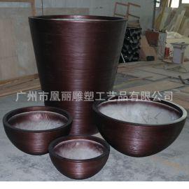 工厂定制玻璃钢花盆商场机场美陈组合 螺纹麻绳纹花盆