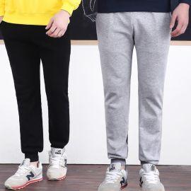 冬裝新款男女加絨加厚純棉衛褲,純色不掉毛2017韓版百搭收腳定制