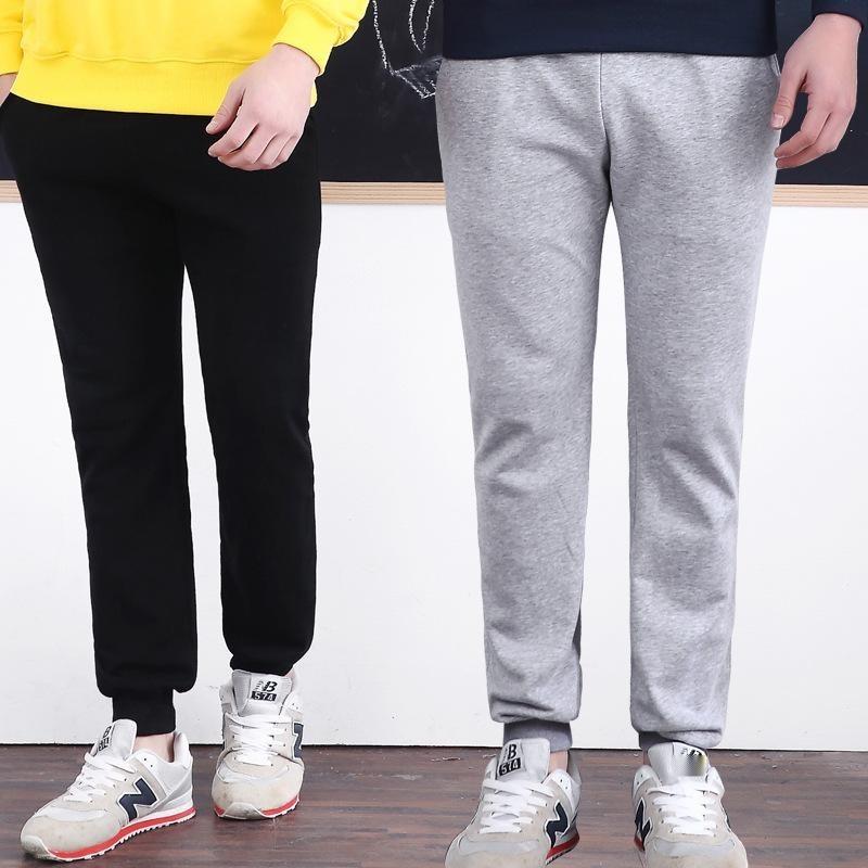 冬裝新款男女加絨加厚純棉衛褲,純色不掉毛2017韓版百搭收腳定製
