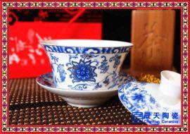 青花盖碗茶杯 手绘三才碗景德镇陶瓷茶具茶碗山水盖碗