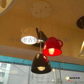 玛斯欧热卖茶壶茶杯四件套餐厅吊灯E27灯头咖啡店餐馆装饰吊灯树脂材质吊灯